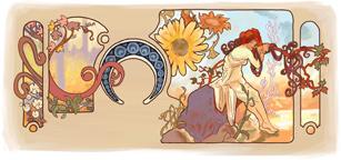 Google Logo: 150th Anniversary of the birth of Alfons Mucha, Czech Art Nouveau painter