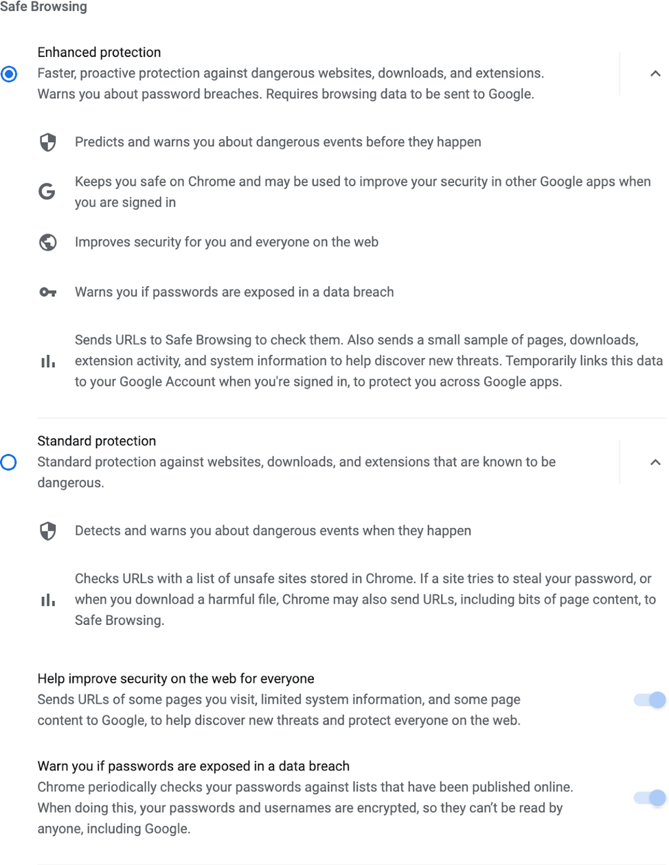 Chrome browser showing safe browsing settings