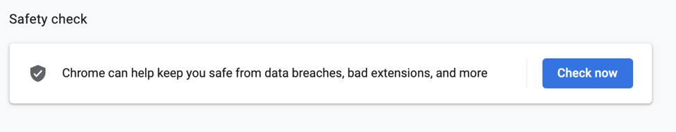 Safety Check feature in Chrome browser