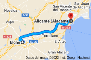 Mapa de Elche, Alicante a Alicante