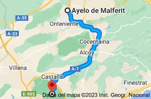 Mapa de Ayelo de Malferit, 46812, Valencia a Xorret del Catí, CV-817, s/n, 03420 Castalla, Alicante
