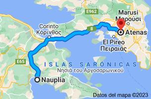 Mapa de Nauplia, Grecia a Atenas, Grecia
