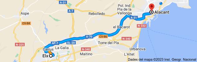Mapa de Elche, Alicante hasta Alicante