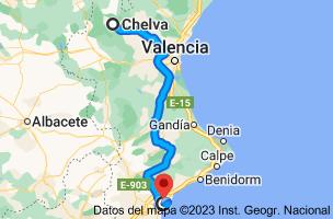 Mapa de Chelva, 46176, Valencia a Alicante
