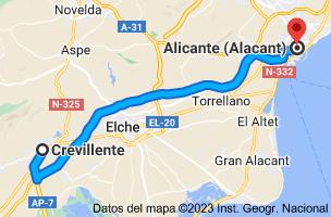 Mapa de Crevillente, Alicante a Alicante
