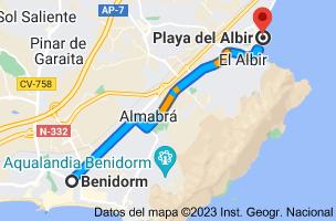 Mapa de Benidorm, Alicante a LP, Alicante