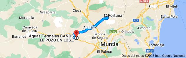 Mapa de Fortuna, Murcia a Aguas Termales BAÑOS EL POZO, Calle los Baños, 22, 30193 Los Baños de Mula, Murcia