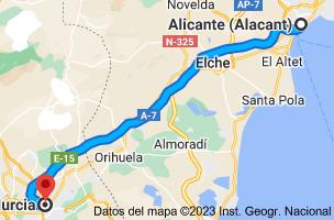 Mapa de Alicante a Murcia