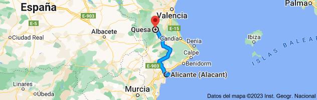Mapa de Alicante a Quesa, 46824, Valencia