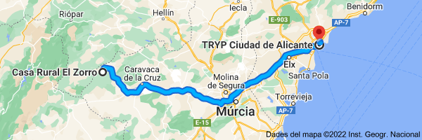 Mapa de Casa Rural El Zorro, Calle Escuelas, 7, 30441 Calar de la Santa, Murcia hasta TRYP Ciudad de Alicante, Calle Gravina, 9, 03002 Alicante