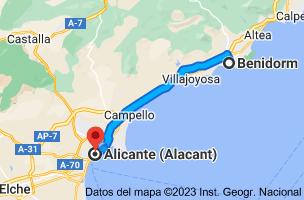 Mapa de Benidorm, Alicante a Alicante