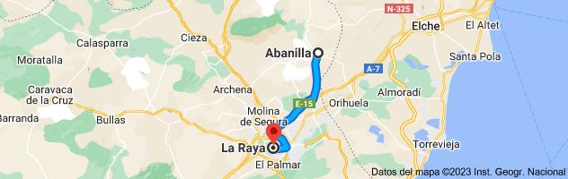 Mapa de Abanilla, Murcia a La Raya, Murcia