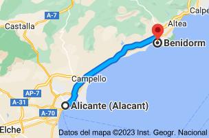 Mapa de Alicante a Benidorm, Alicante