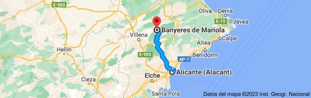 Mapa de Alicante a Bañeres, 03450, Alicante