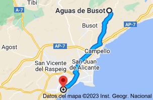 Mapa de Aguas de Busot, 03569, Alicante a Alicante