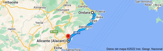 Mapa de Ondara, 03760, Alicante a Alicante
