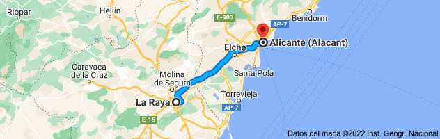 Mapa de La Raya, Murcia a Alicante