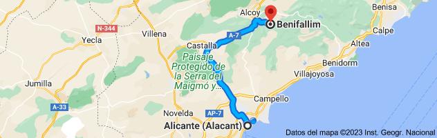 Mapa de Alicante a Benifallim, 03816, Alicante