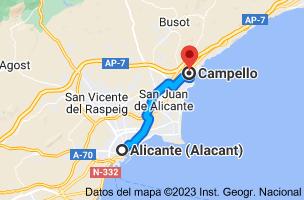 Mapa de Alicante a Campello, Alicante