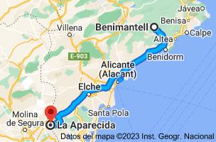Mapa de Benimantell, 03516, Alicante a La Aparecida, 03311, Alicante