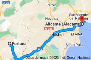 Mapa de Fortuna, Murcia a Alicante