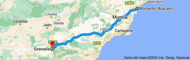 Mapa de Alicante a Granada