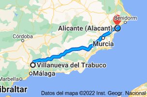 Mapa de Villanueva del Trabuco, 29313, Málaga a Alicante