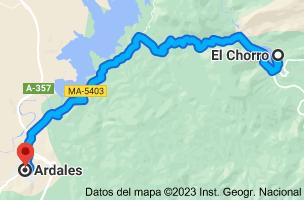 Mapa de El Chorro, 29552, Málaga a Ardales, 29550, Málaga