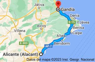 Mapa de Alicante a Gandía, Valencia