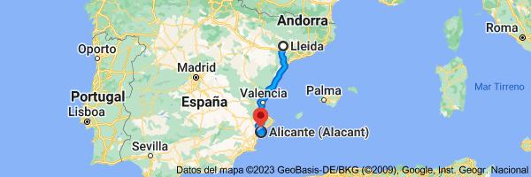 Mapa de Lérida a Alicante