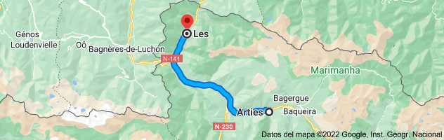 Mapa de Arties, 25599, Lérida a Les, 25540, Lérida