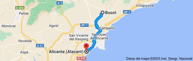 Mapa de Busot, 03111, Alicante a Alicante