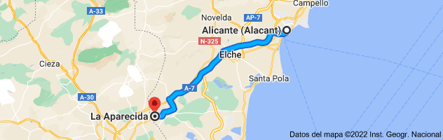 Mapa de Alicante a La Aparecida, 03311, Alicante