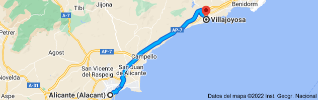 Mapa de Alicante a Villajoyosa, 03570, Alicante