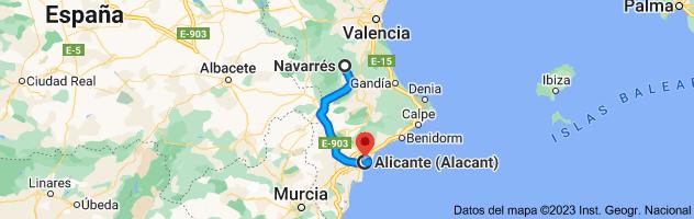 Mapa de Navarrés, 46823, Valencia a Alicante