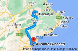 Mapa de Beniatjar, 46844, Valencia a Alicante