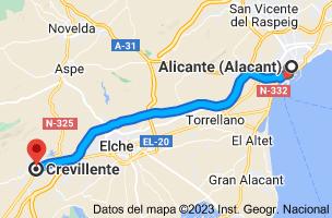 Mapa de Alicante a Crevillente, Alicante