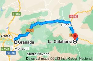 Mapa de Granada a La Calahorra, Granada