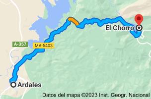 Mapa de Ardales, 29550, Málaga a El Chorro, 29552, Málaga