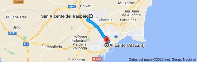 Mapa de San Vicente del Raspeig, Alicante a Alicante