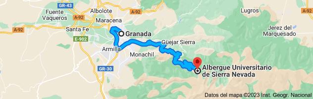 Mapa de Granada a Albergue Universitario de Sierra Nevada, Calle Sierra Nevada, 36, 18196 Monachil, Granada