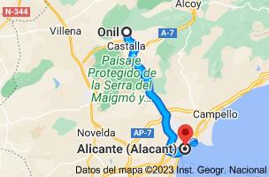 Mapa de Onil, 03430, Alicante a Alicante