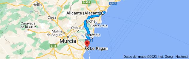 Mapa de Alicante a Lo Pagan, 30740, Murcia