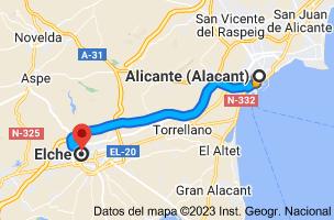 Mapa de Alicante a Elche, Alicante