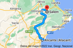 Mapa de Alicante a Salem, 46843, Valencia