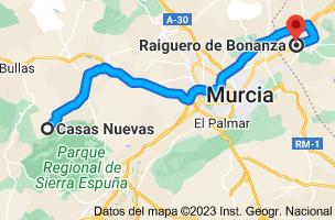 Mapa de Casas Nuevas, 30177, Murcia a Raiguero de Bonanza, 03311, Alicante