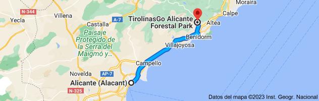 Mapa de Alicante a Forestal Park Benidorm La Nucía, Carrer de Guadalest, 10, 03530 La Nucia, Alicante