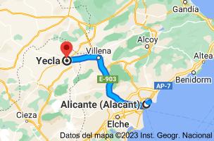 Mapa de Alicante a Yecla, 30510, Murcia