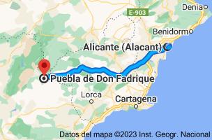 Mapa de Alicante a Puebla de Don Fadrique, 18820, Granada