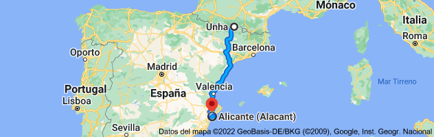 Mapa de Unha, 25598, Lérida a Alicante